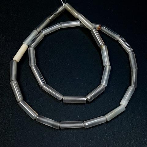 Бусины серый агат трубочка 13х4 мм 1 бусина