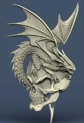 Силиконовый молд № 476 Дракон с черепом