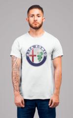 Мужская футболка с принтом Альфа Ромео (Alfa Romeo) белая 001