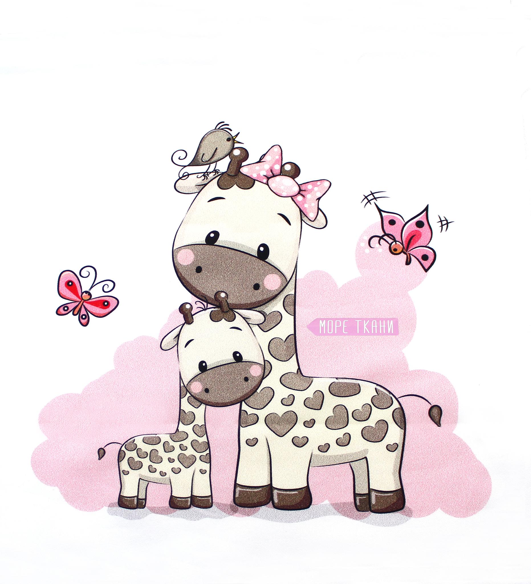Панель(купон) младенец и жирафы-35*35 см, 4 шт.