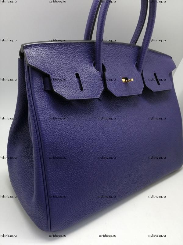 Женская сумка из кожи того Hermes Birkin 35 dark blue