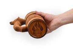 Кружка из дерева с резной ручкой «Волк» 0,5 л, фото 2