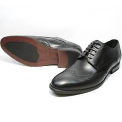 Туфли под черный костюм мужские кожаные Ikos 1157-1 Classic Black.