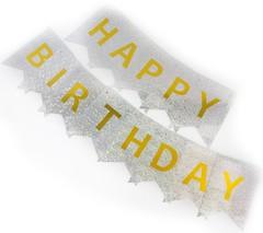 Гирлянда Флажки, Happy Birthday, Серебро, Голография, 160 см, 1 шт.