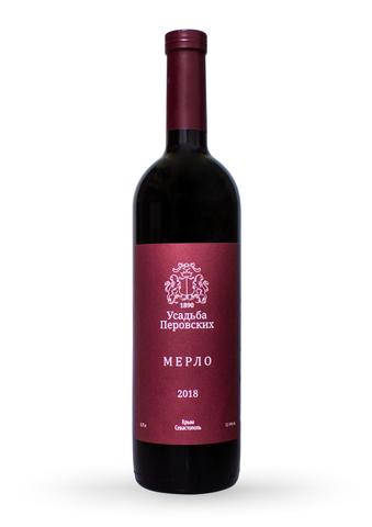 Вино Мерло сухое красное ТЗ Усадьба Перовских 0,75л.