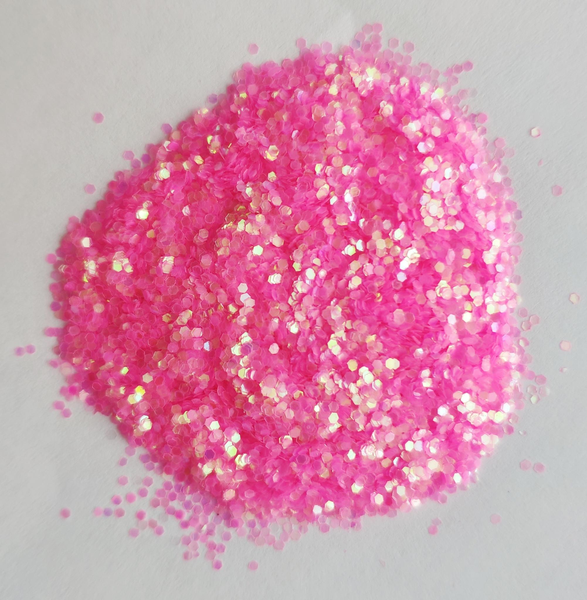 Блестки для слайма крупные профи розовый неон 20мл