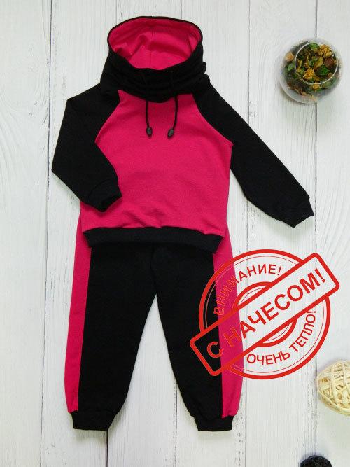 Костюм теплый 3013н, черно-розовый