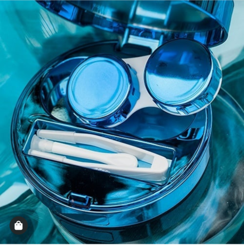 Синий дизайнерский дорожный контейнер для контактных линз