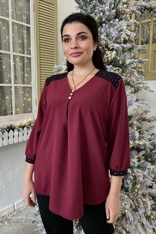 Люсия. Красивая нарядная женская блуза. Бордо