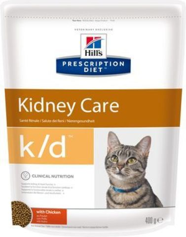 5484 ХИЛЛc ДИЕТА сух.д/кошек K/D лечение заболеваний почек, МКБ (оксалаты, ураты) 400гр*6