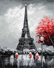 Картина раскраска по номерам 30x40 Черно-красный париж