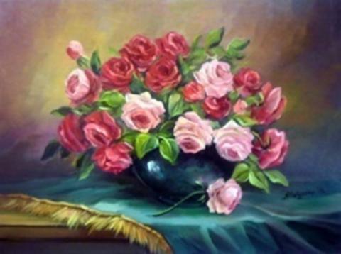 Картина раскраска по номерам 30x40 Розовый букет (арт. KTL1875)