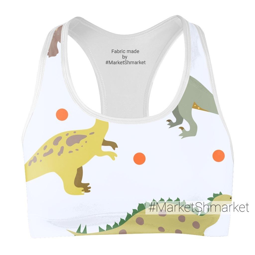 Милый паттерн с динозаврами и горошками