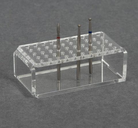 Подставка под фрезы, прямоугольная, 50 ячеек, 7,5 × 3,5 см, цвет прозрачный