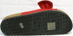 Модные женские шлепки сандалии на плоской подошве Comer SAR-15 Red.