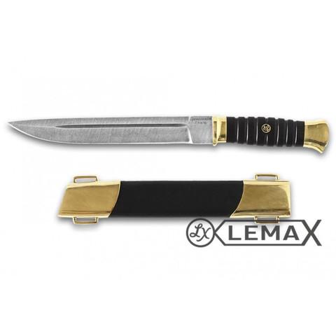 Нож Пластунский, дамаск, чёрный граб, латунь,кожа