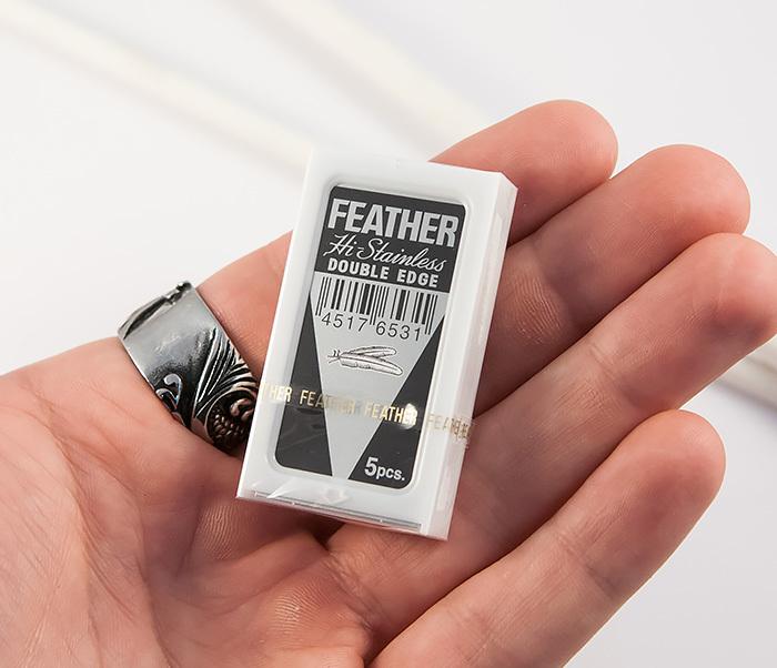 RAZ184 Японские классические лезвия для бритья «FEATHER» с платиновым покрытием (5 шт) фото 03