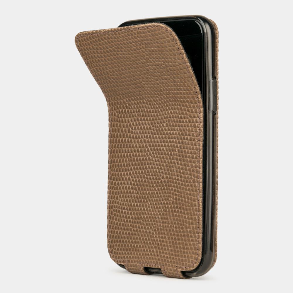 Special order: Чехол для iPhone 11 Pro Max из натуральной кожи ящерицы, цвета кофе лак