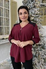 Люсія. Красива нарядна жіноча блуза. Бордо