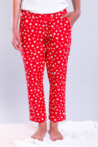 Штани домашні, Garment Factory, бавовна, M/L. Червоні в білі зірочки