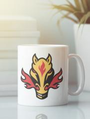 Кружка с рисунком НХЛ Калгари Флэймз (NHL Calgary Flames) белая 001