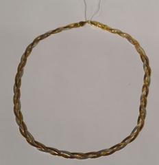 Коса трехцветная с позолотой (серебряная цепочка)