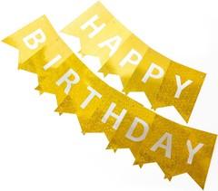 Гирлянда Флажки, Happy Birthday, Золото, Голография, 160 см, 1 шт.