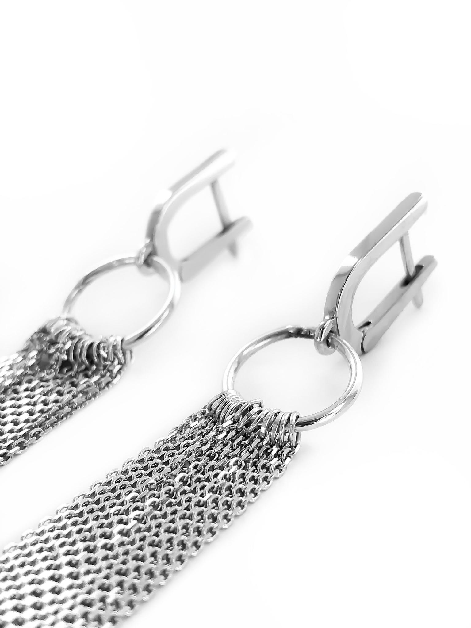 Серебряные серьги-бахрома