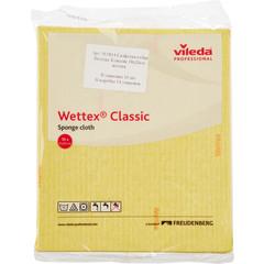 Салфетки хозяйственные губчатые Vileda Professional Веттекс целлюлоза/хлопок 20x18 см желтые 10 штук в упаковке (арт. производителя 111683)