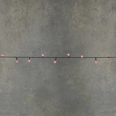 Гирлянда ягодки красный свет на темном проводе на батарейках, таймер на отключение 6/18, для наружного и внутреннего использования