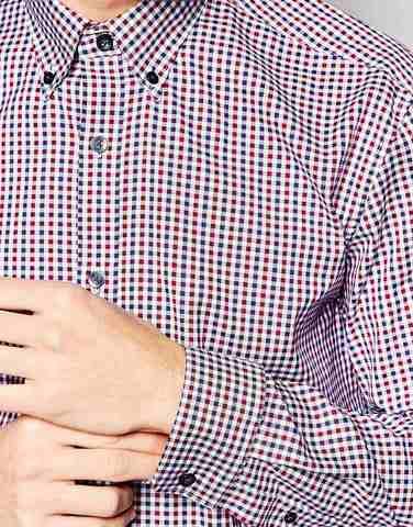 Зауженная рубашка в клеточку Selected