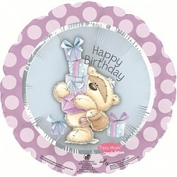 Фольгированный шар С Днем рождения (мишка с подарками) 18