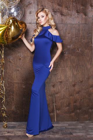 Длинное шелковое вечернее платье, синее