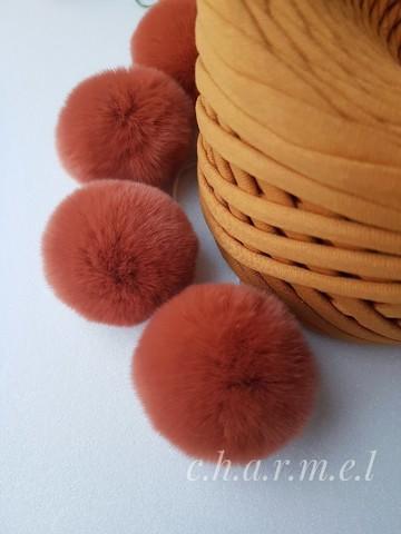Помпон из натурального меха, Кролик, 5-6 см, цвет Каштан, 2 штуки