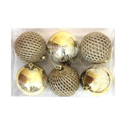 Набор шаров 6шт 8см золото с орнаментом SY18ST-208