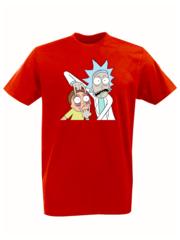 Футболка с принтом мультфильма Рик и Морти (Rick and Morty) красная 001