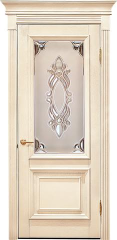 Дверь Лидер-Альверо Екатерина (беленый дуб, остекленная, массив дуба)