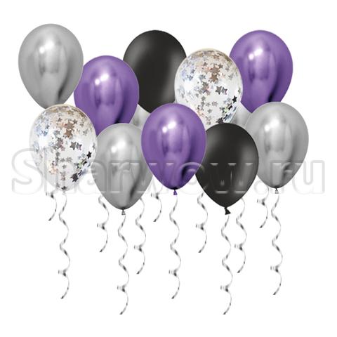 Воздушные шары под потолок Серебро и фиолетовый хром, черный и шары с конфетти