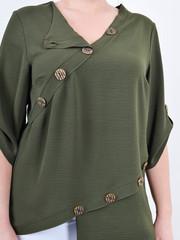 Гайя. Літня блузка плюс сайз. Олива.