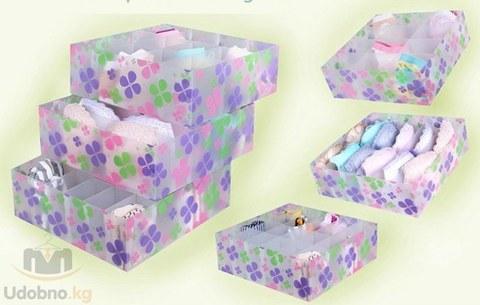 Пластиковый органайзер для белья с крышкой 31*31*10 см, 12 ячеек
