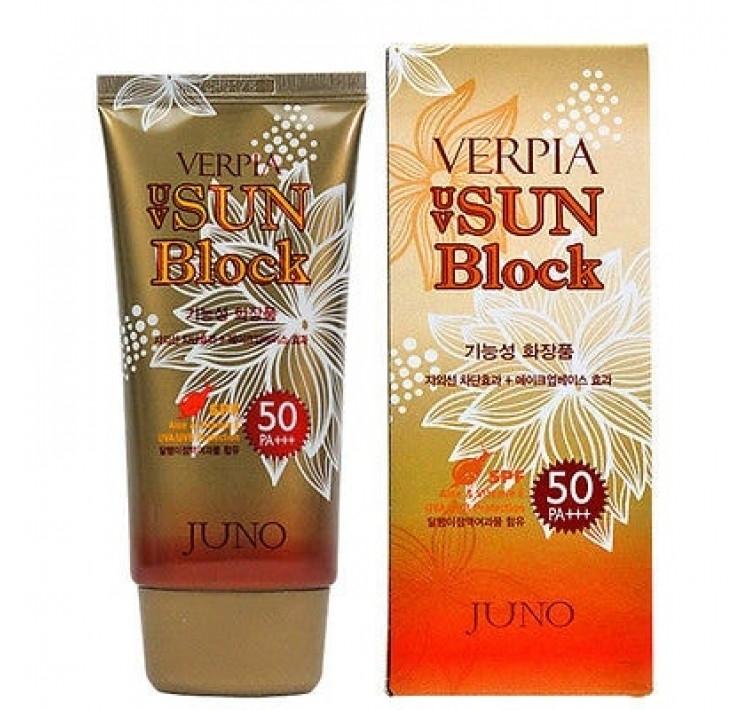 Солнцезащитный крем с муцином улитки Juno UV Sun Block Verpia SPF50+/PA+++(70гр)