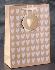 Пакет крафт, люкс, белые сердечки 25 х 10 х 18 см, 1 шт.