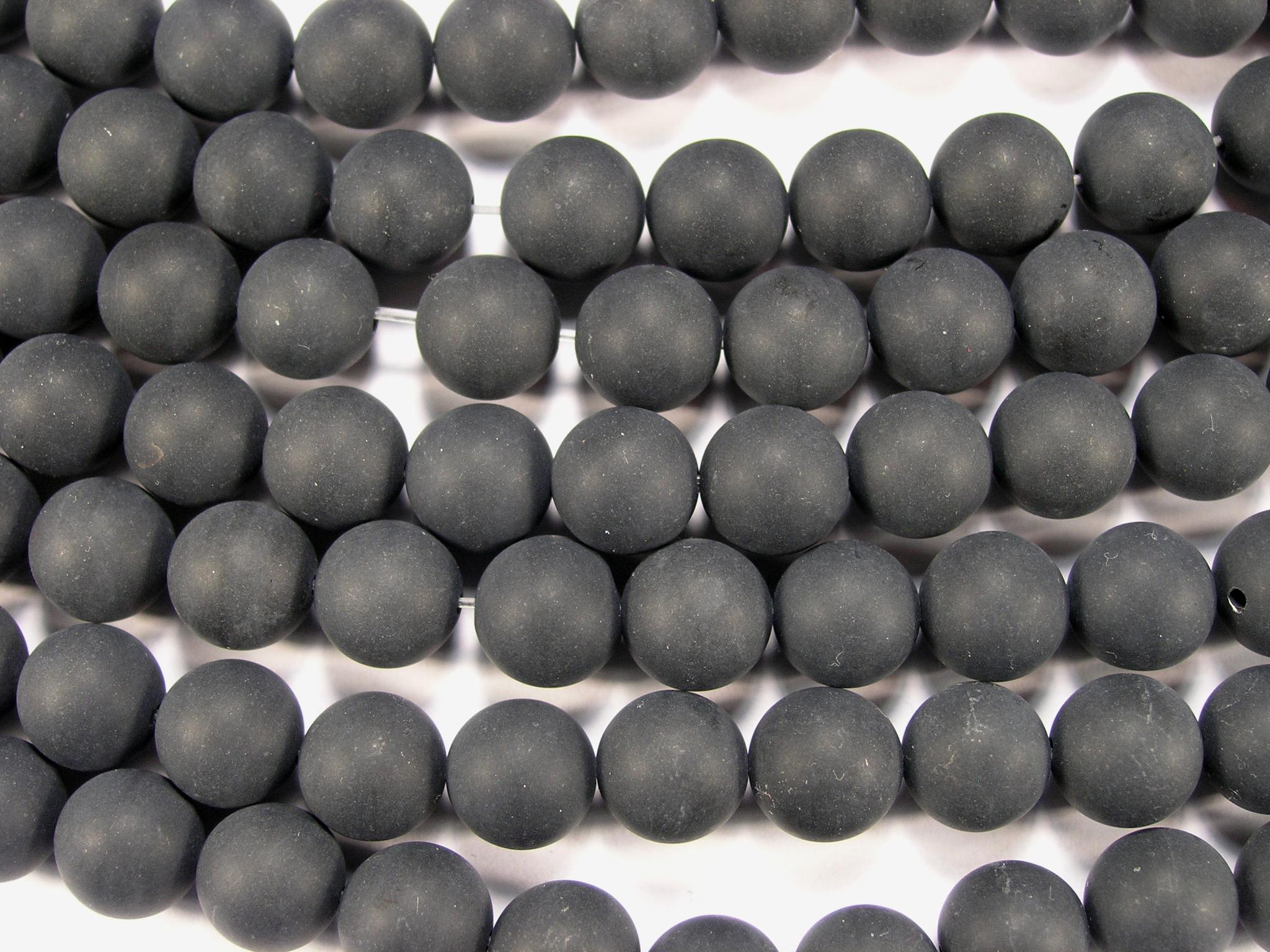 Нити бусин из оникса черного матового, шар гладкий 10мм (оптом)