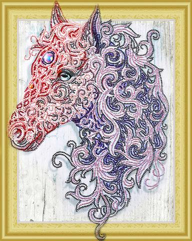 Алмазная Мозаика 5D 40x50 Фиолетовая лошадь