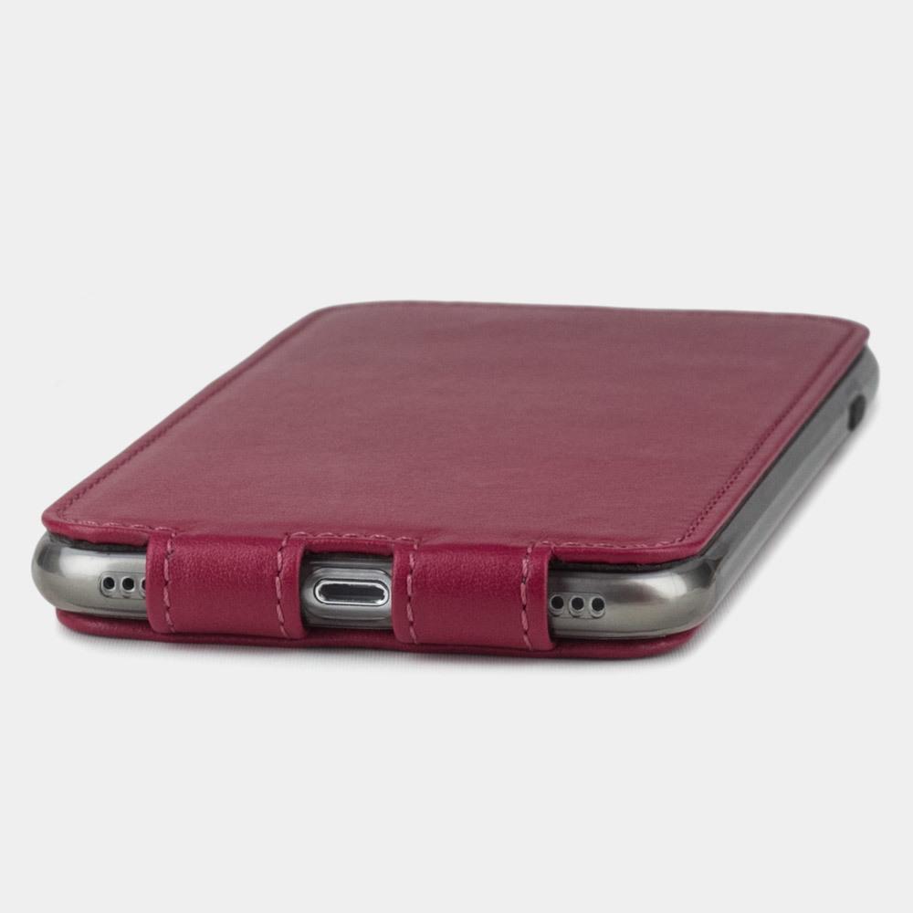 Чехол для iPhone 8 Plus из натуральной кожи теленка, цвета малины