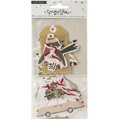 Теги-высечки  Crate Paper Snowflake Layered Tags 12/Pkg