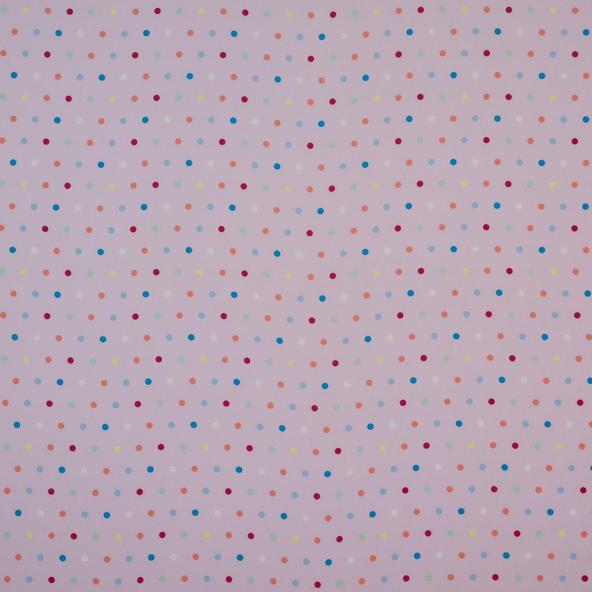 Шёлковый крепдешин нежно-сиреневого цвета в разноцветный горох