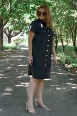Нэля. Повседневное платье-рубашка плюс сайз. Черный.