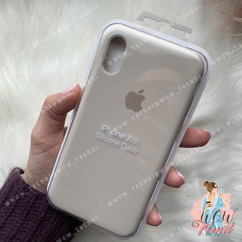 Чехол iPhone X/XS Silicone Case /stone/ светло-серый original quality