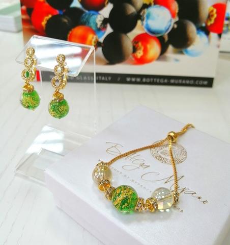 Комплект из браслета и серег со стразами Sandra Ca'D'oro Emerald Gold 030O